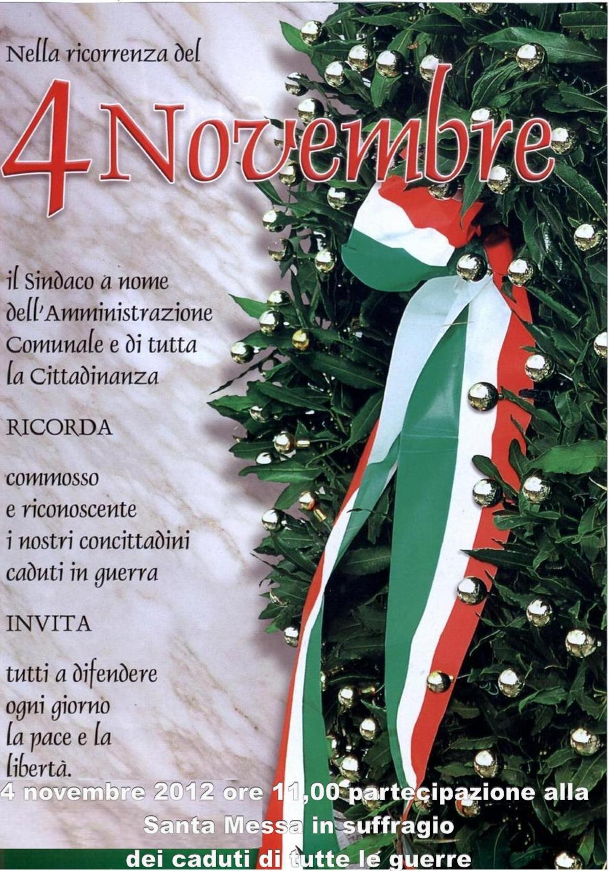 avviso 4 11 2012 celebrazione festa dell unita nazionale e